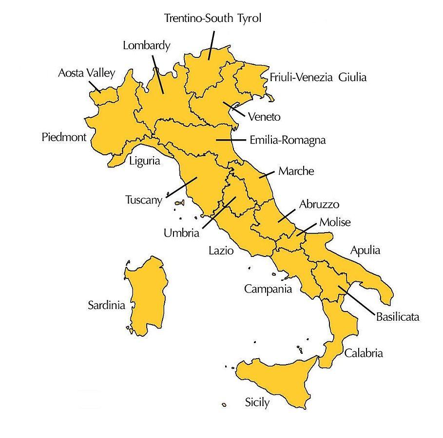 Italiaanse wijnregio's.