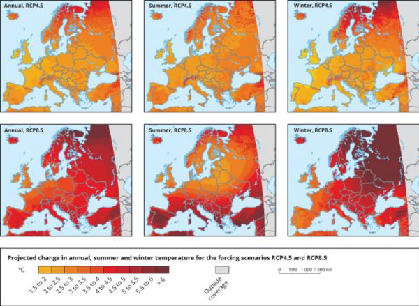Gevolgen klimaatverandering Europa, vergelijking temperatuurstijging winter en zomer.